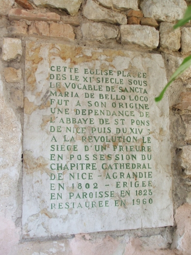 Informational inscription on the side of Ste-Marie de Beaulieu-sur-Mer