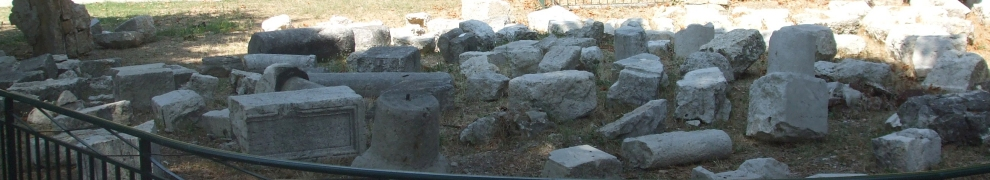 Spolia from the site of the tenth-century cathedral at Nice, fenced off from the public