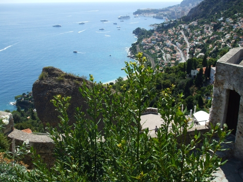 View westwards towards Monaco from the Château des Grimaldis, Roquebrune