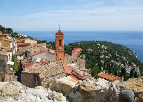 View eastwards along the coast from the Château des Grimaldis, Roquebrune, over the village