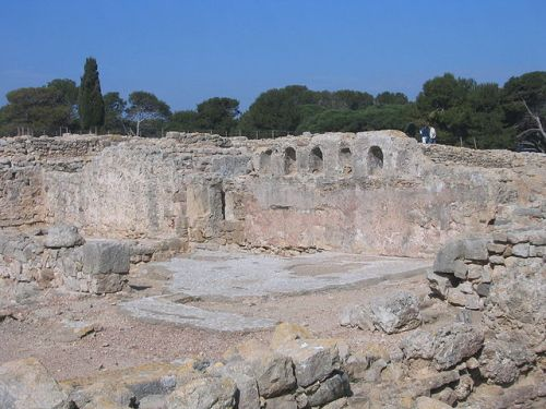 """Ruins of the palæochristian basilica at Empúries, one place it seems reasonable to say people came to Catalonia from actual Greece, albeit rather before this building was put up, let alone knocked down... """"Paleochristian Basilica - Empúries - 2005-03-27"""". Licensed under CC BY 2.0 via Wikimedia Commons."""