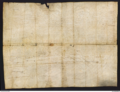 Reduced-quality facsimile of the Vall de Sant Joan hearing charter, Arxiu de la Corona d'Aragó, Pergamins, Cancilleria, Miron 3