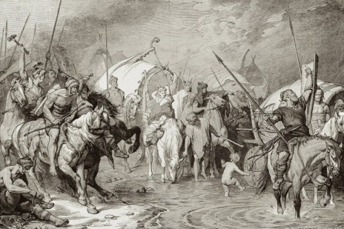 Artistic depiction of the Vandal army arriving in Carthage