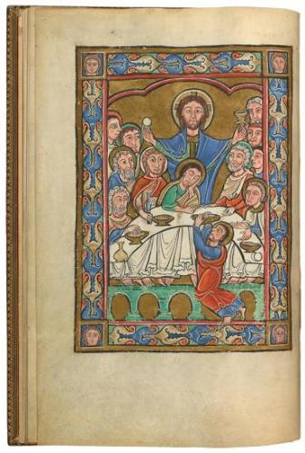 Late twelfth-century depiction of the Last Supper as a Mass, with Jesus presumably handing out wafers of Himself, probably made at Corbie, now New York, Pierpont Morgan Library MS 44, fo. 6v.