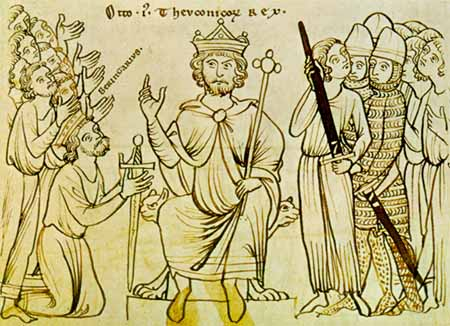 A manuscript drawing of Otto I, sadly only from about 1200, receiving the surrender of King Berengar II of Italy