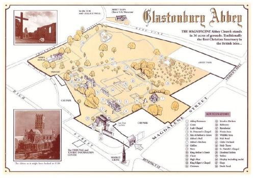 Tourist map of the Glastonbury Abbey site