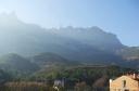 Montserrat seen from the railway in from Barcelona