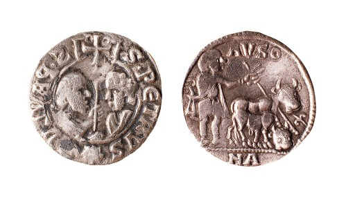 An episcopal diner of Vic, showing Saints Peter and Paul facing each other paired with a man ploughing with an ox right