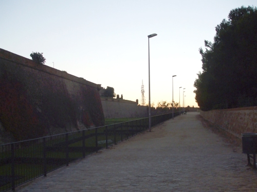Glacis down one side of the Castell