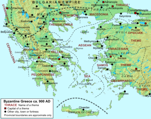 Map of Byzantine Greece c.900