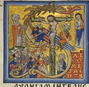 Depiction of the Crucifixion of Christ from an 1166 copy of Peter Lombard's Commentary on the Psalms