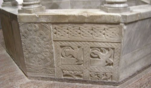 Carolingian-period sculptural panel on a baptismal font ion the church of Cividale