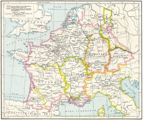Map of the territories of Merovingian Francia