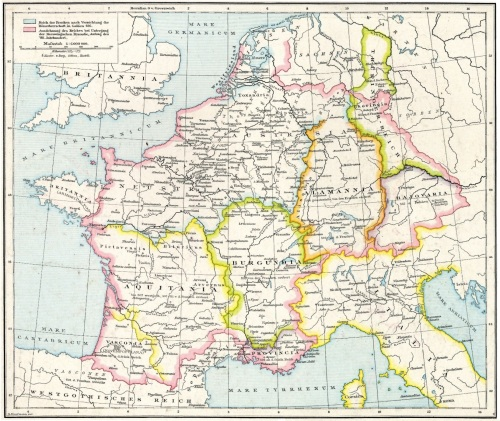 Map of the territories of Merovingian Francia