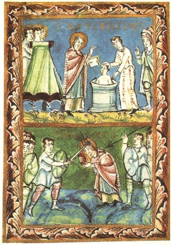 Illustrations of Boniface baptising pagans, above, and receiving his martyrdom, below, from the eleventh-century Fulda Sacramentary
