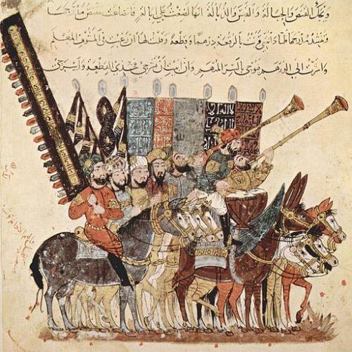 Muslim warriors painted by al-Wāsitī in a thirteenth-century text of the Makam of al-Harīrī