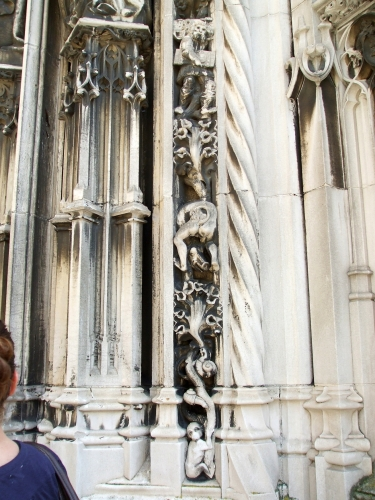 Grotesques around the portal of Notre-Dame de Lausanne