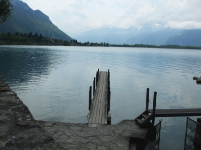 View from the landing stage of the Château de Chillon