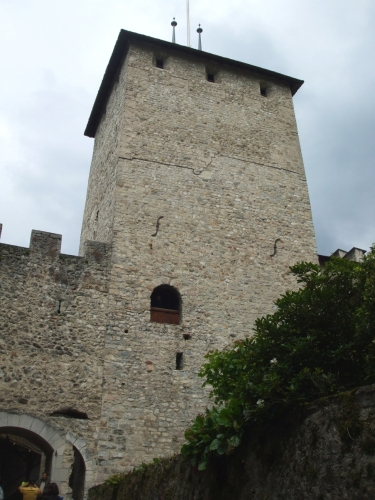 Donjon of the Château de Chillon from below and outside