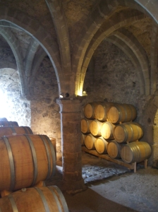 Barrels in the wine-cellar of the Château de Chillon