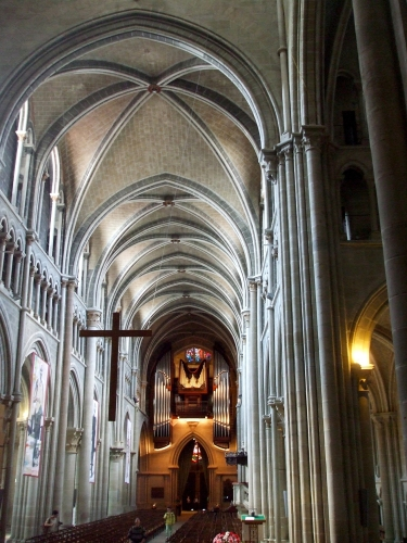 View back down the nave to the very modern organ in Notre-Dame de Lausanne