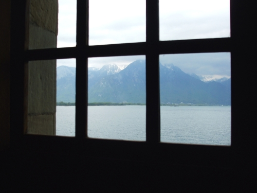 View from the sixteenth-century dining room above the prison at the Château de Chillon