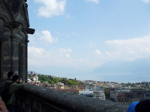 Lac Léman seen from the tower of Notre-Dame de Lausanne