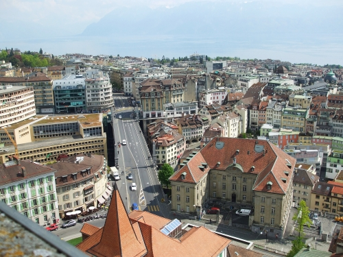 View of Lausanne from the tower of Notre Dame cathedral