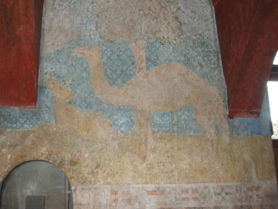 Detail of camel in wall-painting in a bedroom of the Château de Chillon