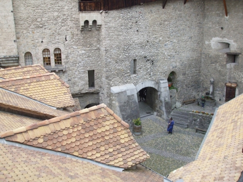 View into the inner courtyard of the Château de Chillon