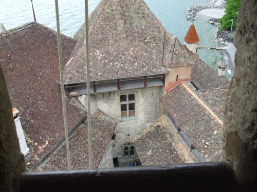 View over the inner courtyard from some way up the donjon tower of the Château de Chillon