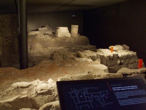 Cisterns that once supplied the baptisteries beneath Saint-Pierre de Genè