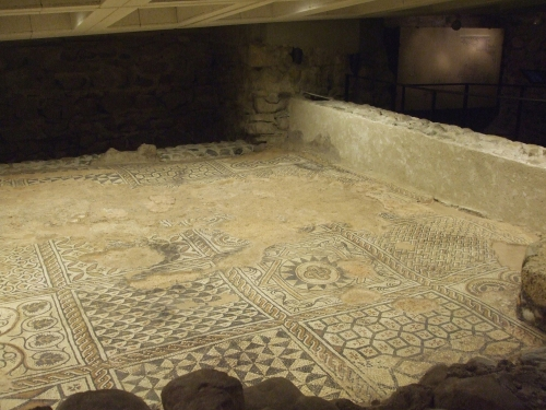 Mosaic pavement in the bishop's residence in the cathedral complex now under Saint-Pierre de Genève