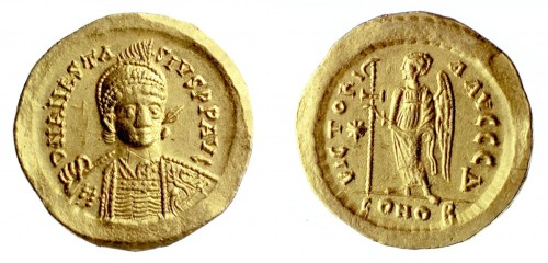 A gold solidus of Emperor Anastasius (491-518) struck in Constantinople, Barber Institute of Fine Arts B0031