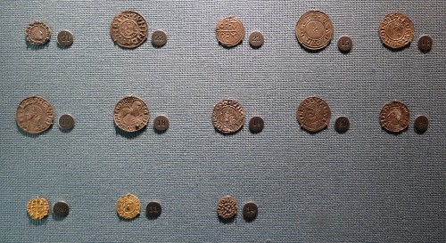 Anglo-Saxon coins on display in Stockholm Royal Armouries Museum