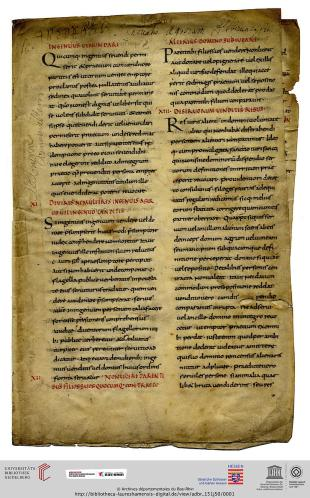 Archives Départementales du Bas-Rhin, 151 J 50, fo. 1r., a fragment of the Visigothic Law