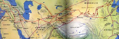 Map of the various Silk Routes