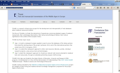 Screen capture of the front page of the TRAME site