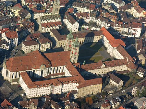 Aerial view of the monastery of Sankt Gallen in its modern state
