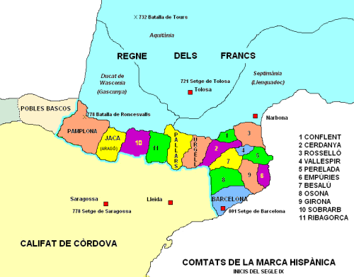 Map of the Carolingian Marca Hispanica