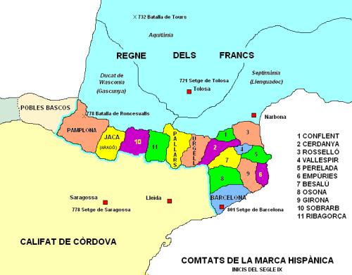 Map of the Carolingian Marca Hispanica