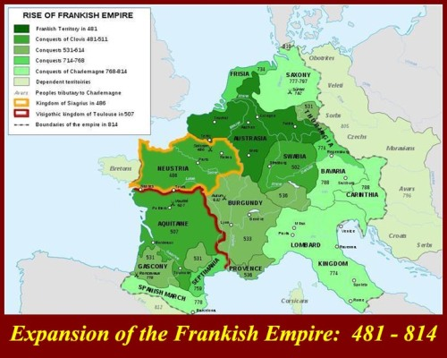Map of Frankish conquests under Pepin and Charlemagne