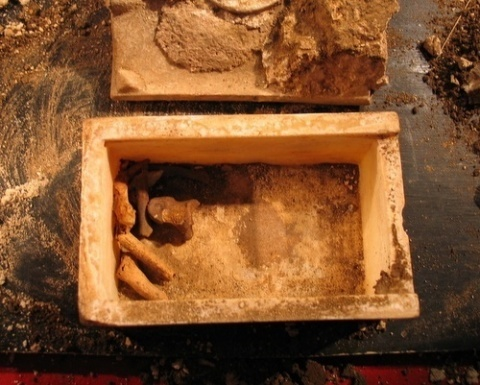 The supposed relics of St John the Baptist as discovered at Sveti Ivan, in the sarcophagus that contained them