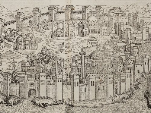 A woodcut depiction of Constantinople from Hartmann Schedel's Nuremberg Chronicle, 1493