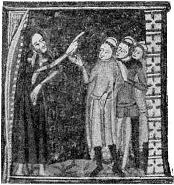 A fourteenth-century manuscript illustration of an archdeacon telling off some priests