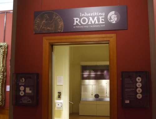 Entrance to the Coin Gallery, Barber Institute of Fine Arts, showing the banners for Inheritance of Rome