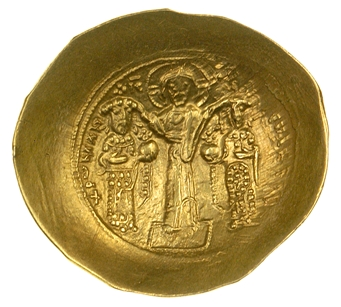 Obverse of a gold histamenon nomisma of Romanos IV struck at Constantinople in 1068-1071, Barber Institute of Fine Arts B4526