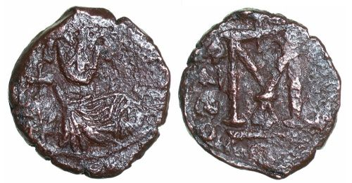 Bronze follis of Emperor Justinian II struck at Constantinople between 685 and 695, Barber Institute of Fine Arts B4395