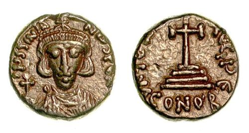 Gold solidus of Emperor Justinian II, struck in 695-696 at Carthage, Barber Institute of Fine Arts B4400.