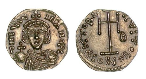 Gold tremissis of Emperor Justinian II, struck at Ravenna between 685 and 695, Barber Insitute of Fine Arts B4422.
